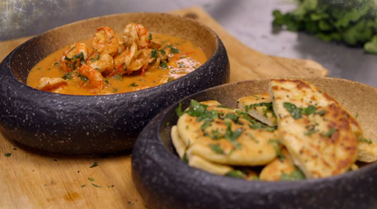 James Martin's buttered king prawn curry with naan bread dish on James Martin's Chri ...