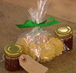 Selasi's Rosemary and Parmesan biscuits with chorizo and chilli chutney on Christmas Kitchen
