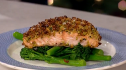Gino's pistachio & honey crust salmon on This Morning