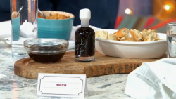 Rebecca's birch water alcoholic drink and dip on Sunday Brunch