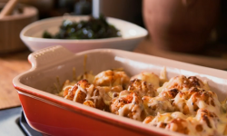 Spiced roasted cauliflower cheese with kale crisps on The Hairy Bikers' Comfort Food