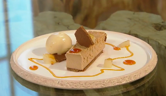 Mark Greenaway's tomato caramel cheesecake with pear sorbet dessert on Saturday Kitchen