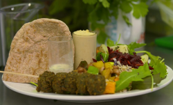 Louise 's falafel with homemade hummus and pitta bread lunch on  The Hairy Bikers Comfort Food