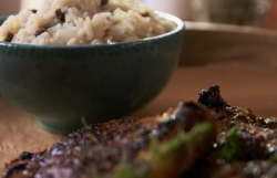 Jerk pork chops with rice and peas dish on The Hairy Bikers' Comfort Food