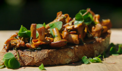 Wild mushrooms on toast on Jamie and Jimmy's Friday Night Feast