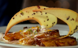 The Hairy Bikers pineapple with star anise, sweet coconut cream, caramel and cardamom tuile bisc ...
