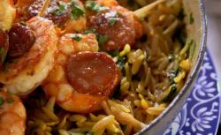 Orzo pasta bake with chorizo and prawns  dish on The Hairy Bikers' Comfort Food