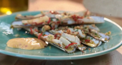 The hairy bikers chilli and garlic razor clams with harissa and saffron mayo on Saturday Kitchen