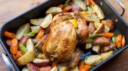 Josh Capon Roast Chicken with Garlic, Lemon and Thyme dish on The Rachael Ray Show