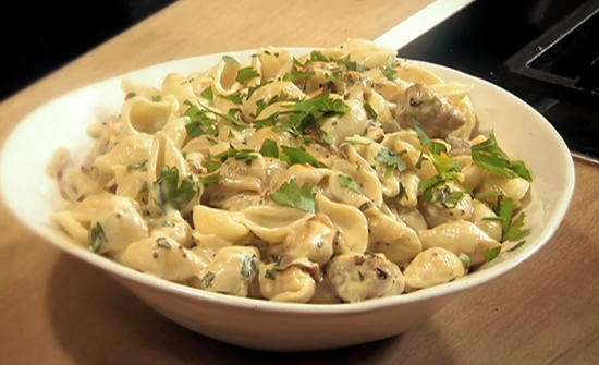 Nigel Slater sausages and mustard pasta dish on Saturday Kitchen