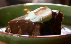 Sticky toffee pudding with cream dessert on The Hairy Bikers Comfort Food