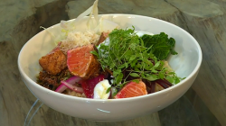 Niklas Ekstedt creamed barley with salmon, savoy cabbage and horseradish on Saturday Kitchen