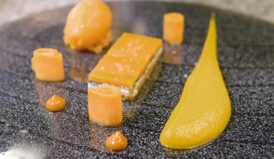 Yoann Conte carrot mousse on James Martin's French Adventure