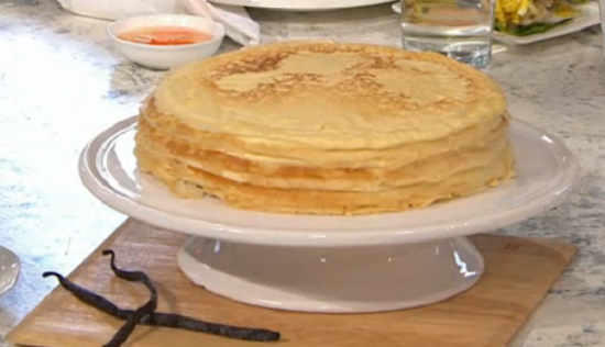 Rebecca Seal French crepe pancakes layered cake on Sunday Brunch