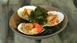 Michel Roux Jr.  scallops with fregola and fried kale dish on Saturday