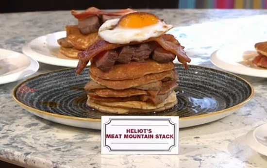 Steak Mountain Stack Pancakes by Rebecca Seal on Sunday Brunch