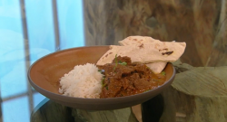 Angela Hartnett venison curry  with rice and naan bread on Saturday Kitchen
