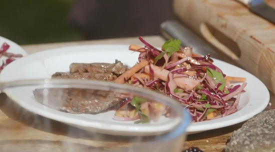 Tom Kitchin venison steaks with red cabbage slaw on Mary Berry Everyday