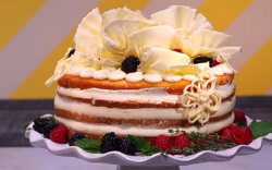 Susana's almond cake with raspberry and blackberry compote cake on Spring Baking Championship