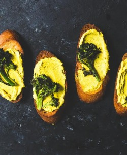 Roasted Broccoli & Turmeric Goat Cheese Crostini