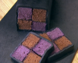 John Whaite's liquorice and blackcurrant battenberg cake on Chopping Block