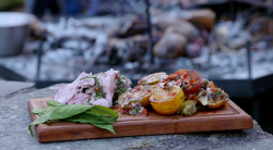 George and Martin's BBQ Welsh lamb with tomatoes and potatoes on Countryfile