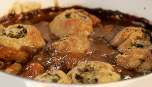 Mary Berry beef and ale stew with parsley and horseradish spiral dumplings recipe on Mary Berry  ...