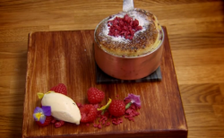 Glynn Purnell and Steve's raspberry bread and butter pudding on The Secret Chef
