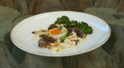 Phil Howard broccoli with mushrooms, duck egg and cashew nut cream on Saturday Kitchen