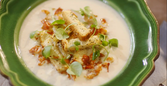 Mary Berry's celeriac soup with crispy pancetta and poppy seed croutons on Mary Berry Everyday