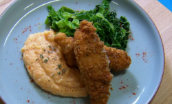 Phil and Liam's chicken with sweet potato mash and kale dish on Chopping Block