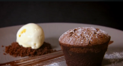 Paul Merrett  and Lucy's chocolate fondant with ice cream dessert on The Secret Chef