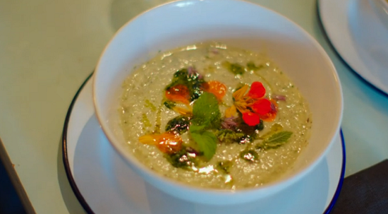 Anna's cold vegetable soup with pesto on Hidden Restaurants with Michel Roux Jr
