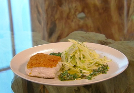 Angela's Baked hake with green sauce and fennel salad on Saturday Kitchen