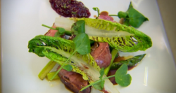 Glynn Purnell roast duck with spiced plum jam and watercress on The Secret Chef