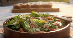 Mary Berry's fennel and watermelon salad with goats cheese bruschetta on Mary Berry Everyday