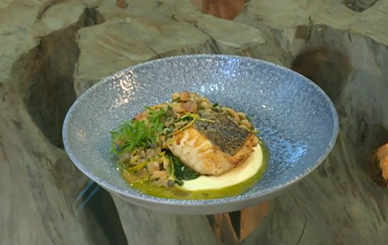 Paul Askew hake with wild garlic and potted shrimps dish on Saturday Kitchen