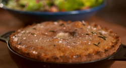 Tom Kerridge ham and mushroom pie with chestnut mushrooms and dried porcini mushroom powder on S ...