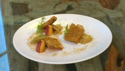 Michel Roux Jr. honeycomb tripe with apple and cider on Saturday Kitchen
