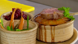 Nigel Haworth and Steve's hotpot with red, potatoes and vegetables on The Secret Chef