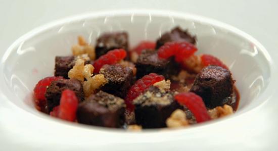 Jamie's Masterchef chocolate and raspberries with ice cream dessert