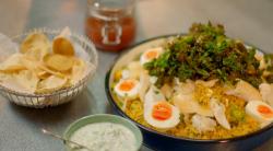 Michel Roux Jr. curry kedgeree with crispy kale on Hidden Restaurants