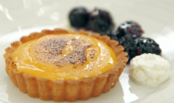 Leanne's lemon curd tart with poached blackberries and a mascarpone cream on Masterchef