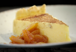 Milk tart with dried apricots dessert on Phillip Schofield's South African Adventure