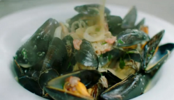 Chris's mussels with cider and smoked bacon on Hidden Restaurants with Michel Roux Jr