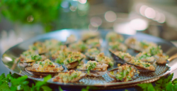 Michel Roux Jr mussels baked with sausage meat,  garlic butter and bread crumbs on Hidden Restau ...