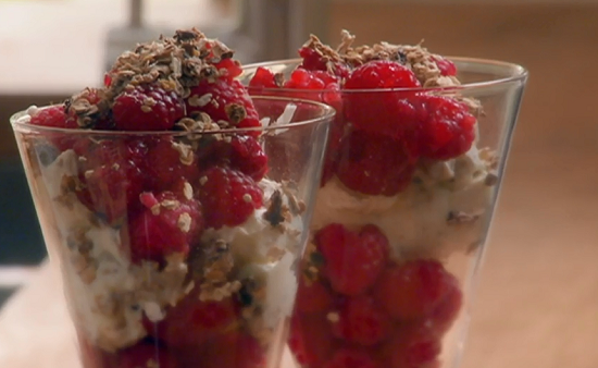 Nigel Slater raspberries with cream and oats dessert on Saturday Kitchen