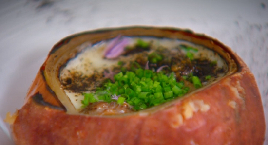 Nigel Haworth and Steve's onion soup with brandy and chives on The Secret Chef