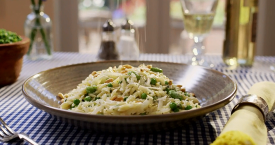Mary Berry orzo pasta with broad beans on Mary Berry Everyday