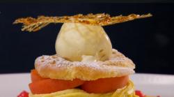 Paul Merrett  and Lucy's Paris Brest dessert on The Secret Chef
